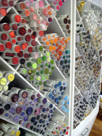 button display at a german fabric store