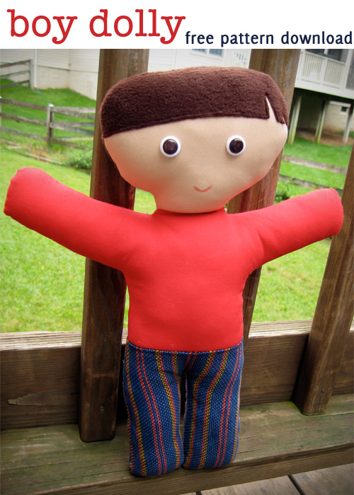 free sewing pattern: boy dolly