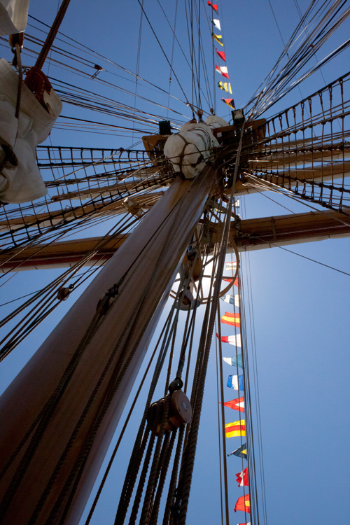 a very tall ship - with awesome flags