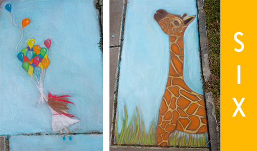 year six: chalk festival giraffe