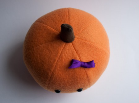 a pumpkin custom plush: with a bow!
