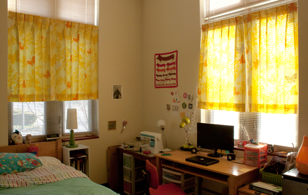 Yellow Thrifted Butterfly Curtains In My Dorm Room Part 29
