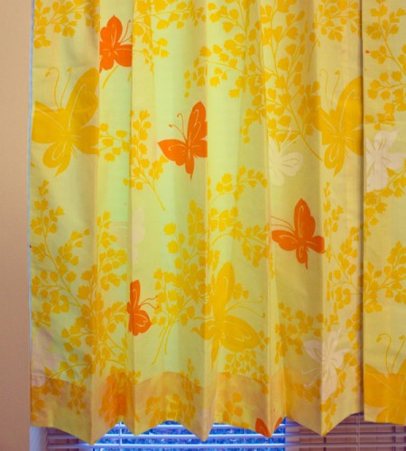 yellow screen-printed butterfly curtains