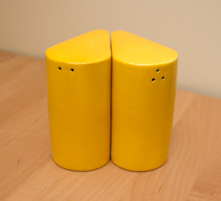 yellow vintage salt & pepper shakers