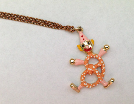 pretzel clown necklace