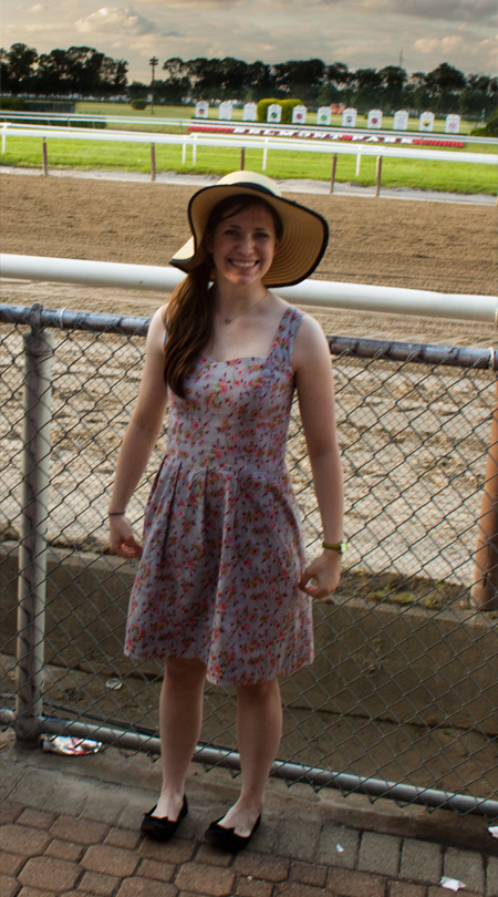 me, in my belmont stakes dress and mandatory hat!