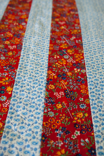 vintage red quilt back detail - hand basting