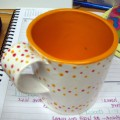 handmade polka dot mug i made in ceramics class!