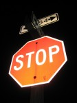 stop sign at night