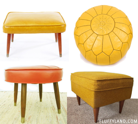 vintage hassock examples - yellow and orange
