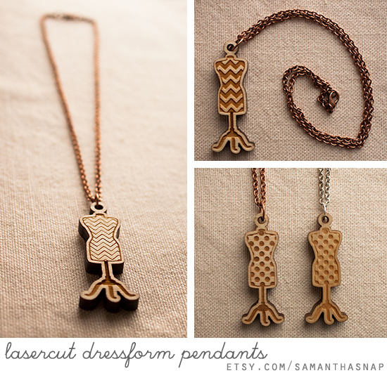 lasercut dressform pendants at samanthasnap