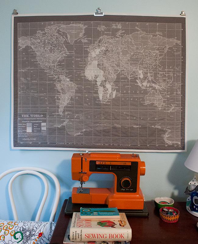 the world on my wall: gray vintage map quilt - Fluffyland Craft ...
