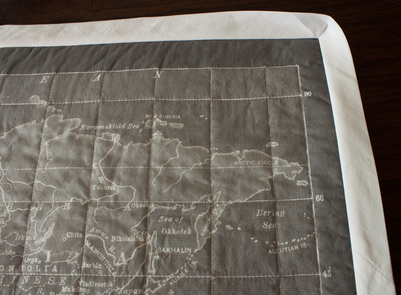 The world on my wall gray vintage map quilt fluffyland craft map quilt binding side 1 gumiabroncs Gallery