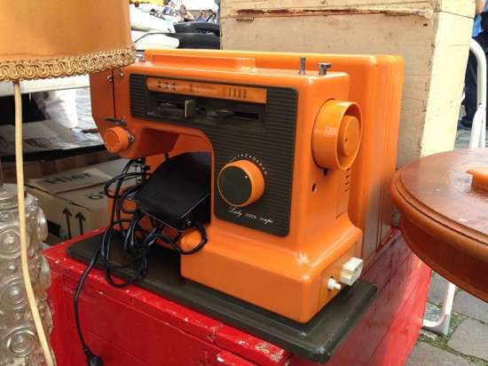 orange sewing machine at hamburg flohschanze flea market