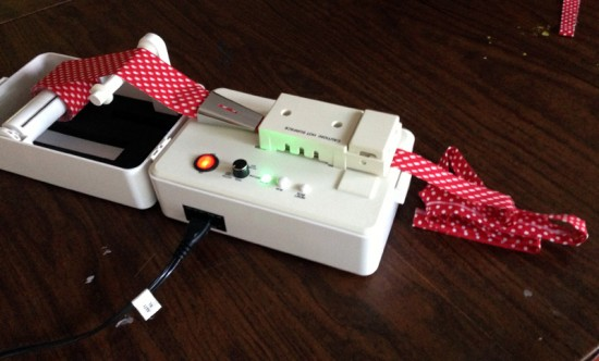 red polka dot bias tape in the bias tape maker