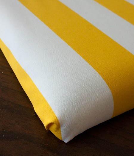 yellow striped sewing chair: recover cushion