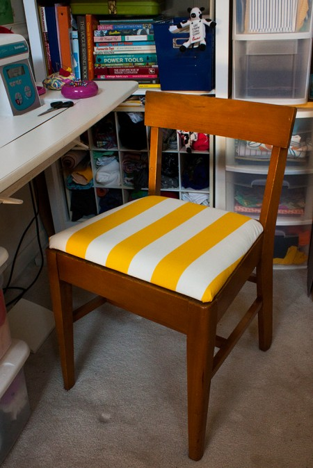 yellow striped sewing chair - recovered