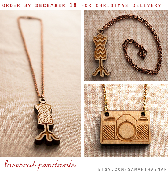 lasercut dressform pendants at samanthasnap - seamstress christmas gift