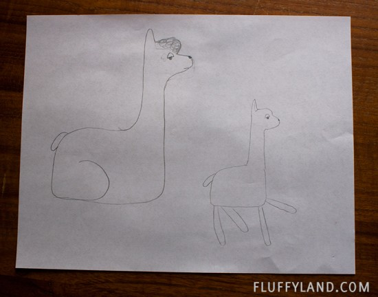 plush alpaca initial sketch