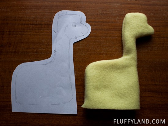 plush alpaca sketch and prototype