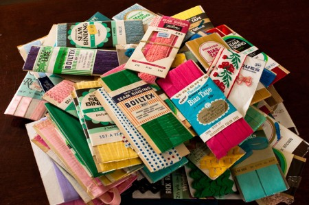 pile of colorful vintage bias tape