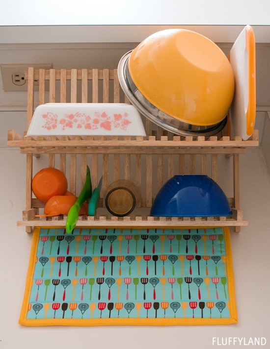 quilted dish drying mat DIY