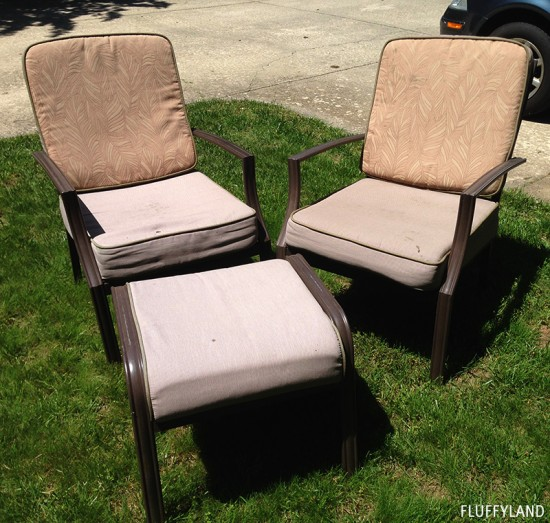 recovered patio chair cushions - before