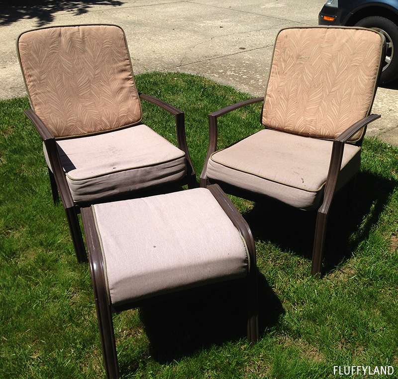 Recovered Patio Chair Cushions Before