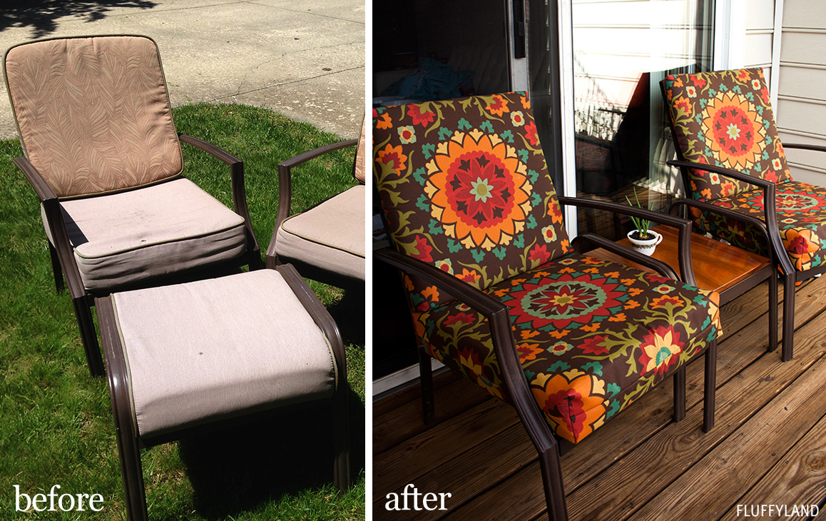 Delightful Recovered Patio Chair Cushions: Before And After
