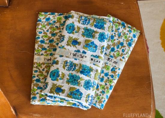 rummage sale 2014 - blue floral fabrics