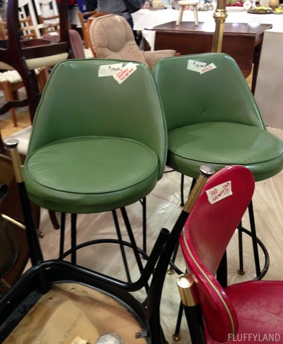 rummage sale 2014 - green vinyl bar chairs