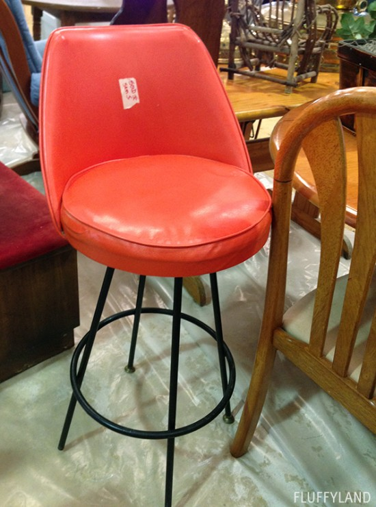rummage sale 2014 - orange vinyl bar chair