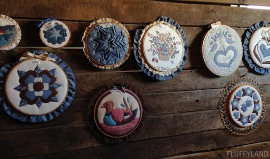 rummage sale 2014 - wall of embroidery hoop art