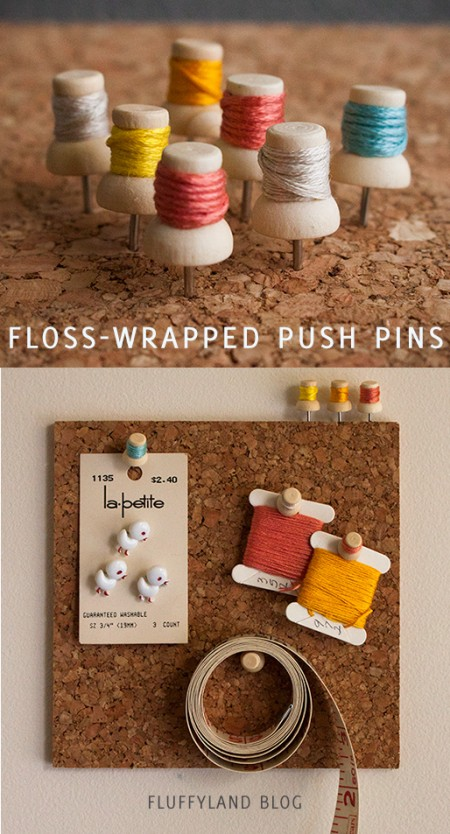 floss wrapped push pins tutorial