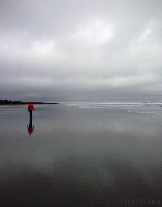 katie on the gray beach