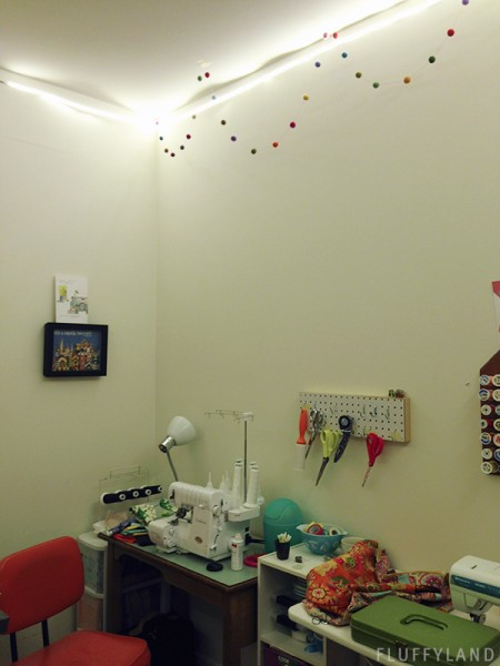 sewing room light: LED strip around ceiling