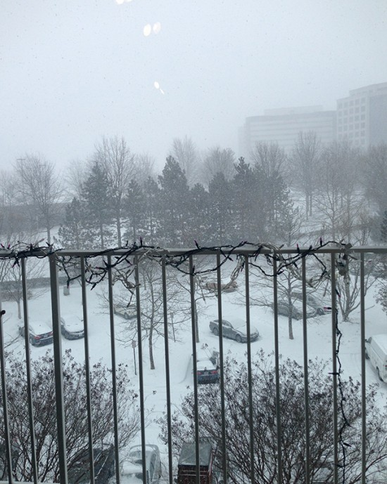 snowy balcony view, yes i still have christmas lights