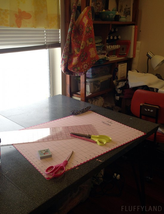 snowy sewing room
