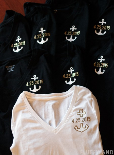bridesmaid t-shirts - iron-on anchor