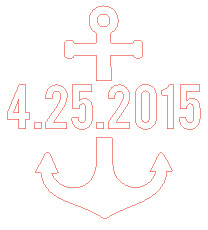 split anchor design with wedding date - silhouette iron-on
