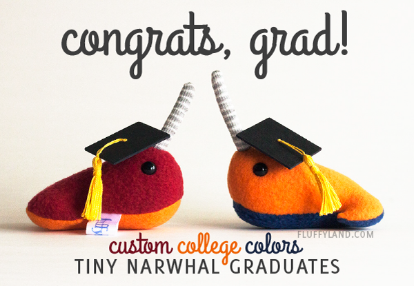 tiny narwhal graduates in custom college colors
