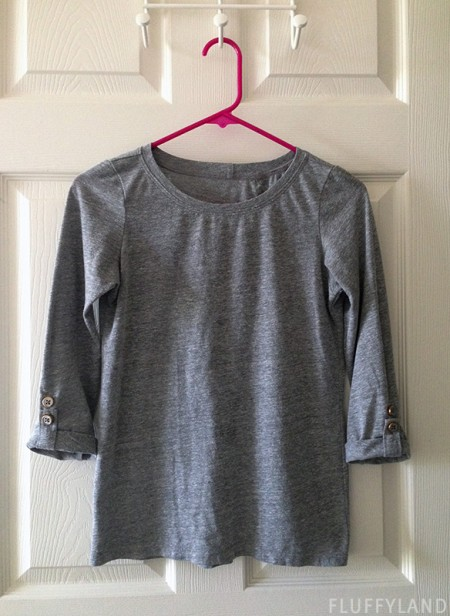 handmade gray button tee
