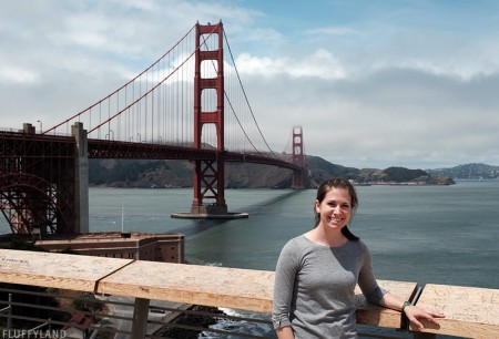 handmade heather gray tee with button sleeves (at the golden gate bridge!)
