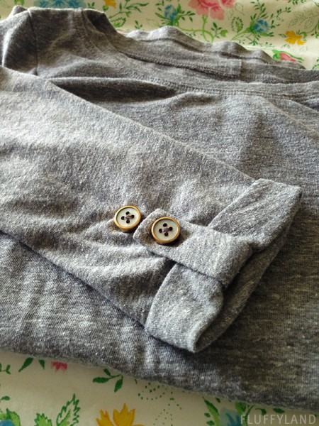 handmade gray button tee - gold button detail