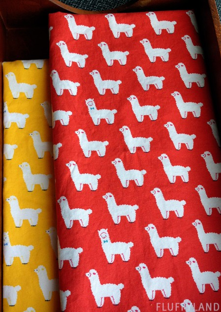 alpacas with bowties - fabric from japan