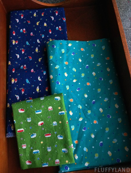 japanese fabric - tiny snails, parakeets, and vw vans