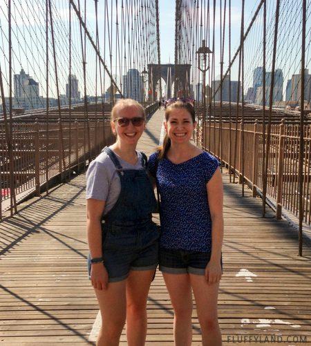 handmade shirt: blue birdy fabric on the brooklyn bridge