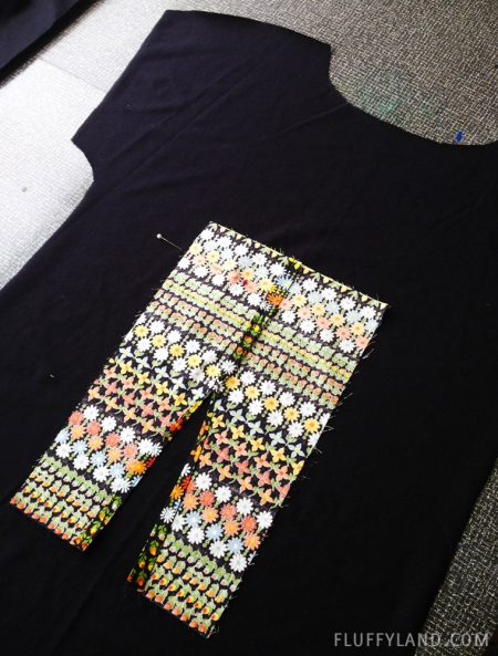 handmade tee - black with flowered placket