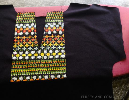 handmade tee - black with flowered placket