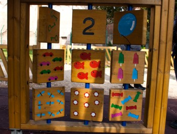 wooden number game at the playground